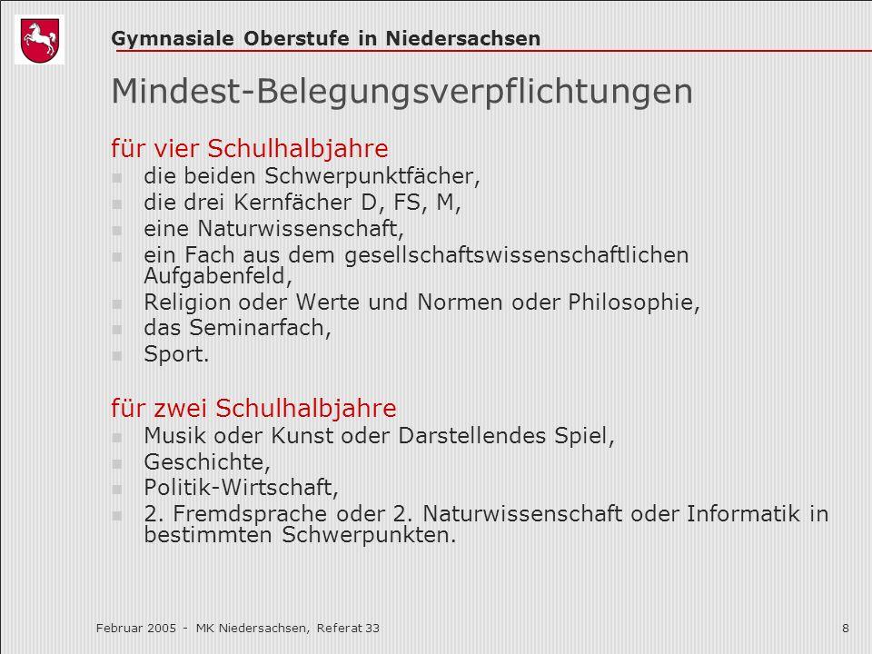 Gymnasiale Oberstufe in Niedersachsen Februar 2005 - MK Niedersachsen, Referat 338 Mindest-Belegungsverpflichtungen für vier Schulhalbjahre die beiden