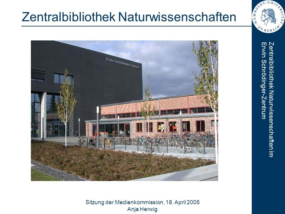 Zentralbibliothek Naturwissenschaften imErwin Schrödinger-Zentrum Sitzung der Medienkommission, 18. April 2005 Anja Herwig 1 Zentralbibliothek Naturwi