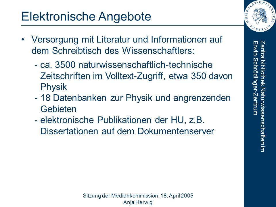 Zentralbibliothek Naturwissenschaften imErwin Schrödinger-Zentrum Sitzung der Medienkommission, 18. April 2005 Anja Herwig 10 Elektronische Angebote V