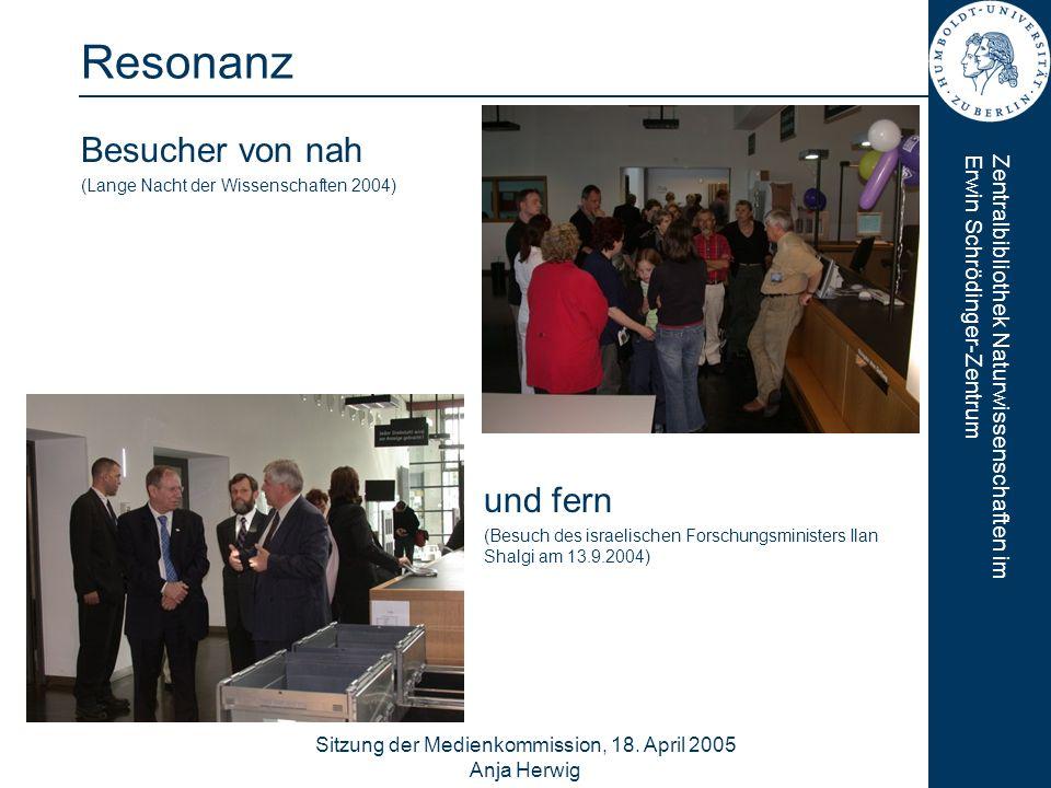 Zentralbibliothek Naturwissenschaften imErwin Schrödinger-Zentrum Sitzung der Medienkommission, 18. April 2005 Anja Herwig 11 Resonanz Besucher von na