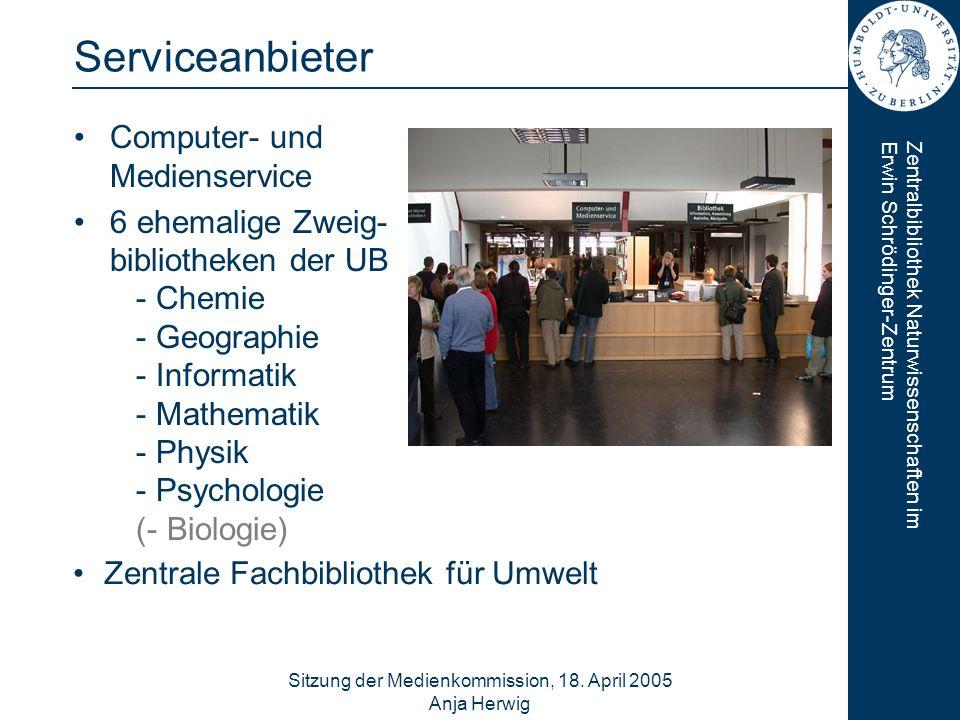 Zentralbibliothek Naturwissenschaften imErwin Schrödinger-Zentrum Sitzung der Medienkommission, 18. April 2005 Anja Herwig 2 Serviceanbieter Computer-