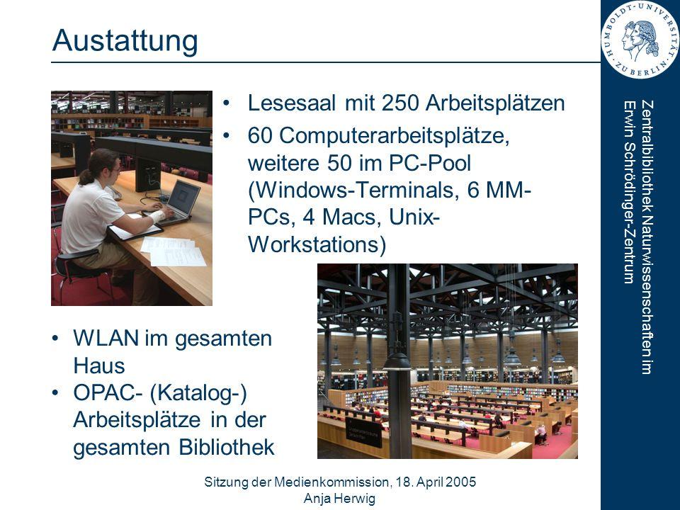 Zentralbibliothek Naturwissenschaften imErwin Schrödinger-Zentrum Sitzung der Medienkommission, 18. April 2005 Anja Herwig 6 Austattung Lesesaal mit 2