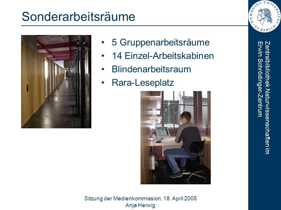 Zentralbibliothek Naturwissenschaften imErwin Schrödinger-Zentrum Sitzung der Medienkommission, 18. April 2005 Anja Herwig 7 Sonderarbeitsräume 5 Grup