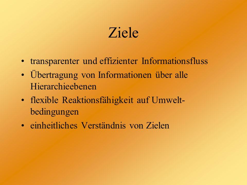 Ziele transparenter und effizienter Informationsfluss Übertragung von Informationen über alle Hierarchieebenen flexible Reaktionsfähigkeit auf Umwelt-