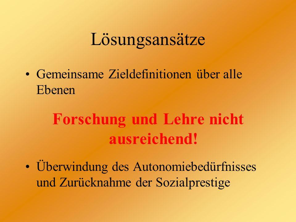 Lösungen Klare Konkretisierungen der gemeinsamen Ziele - Schaffen eines herausragenden Stellenwertes in der Hochschul- landschaft Schleswig- Holsteins - Interdisziplinarität des Studien- angebotes für Internationales Management