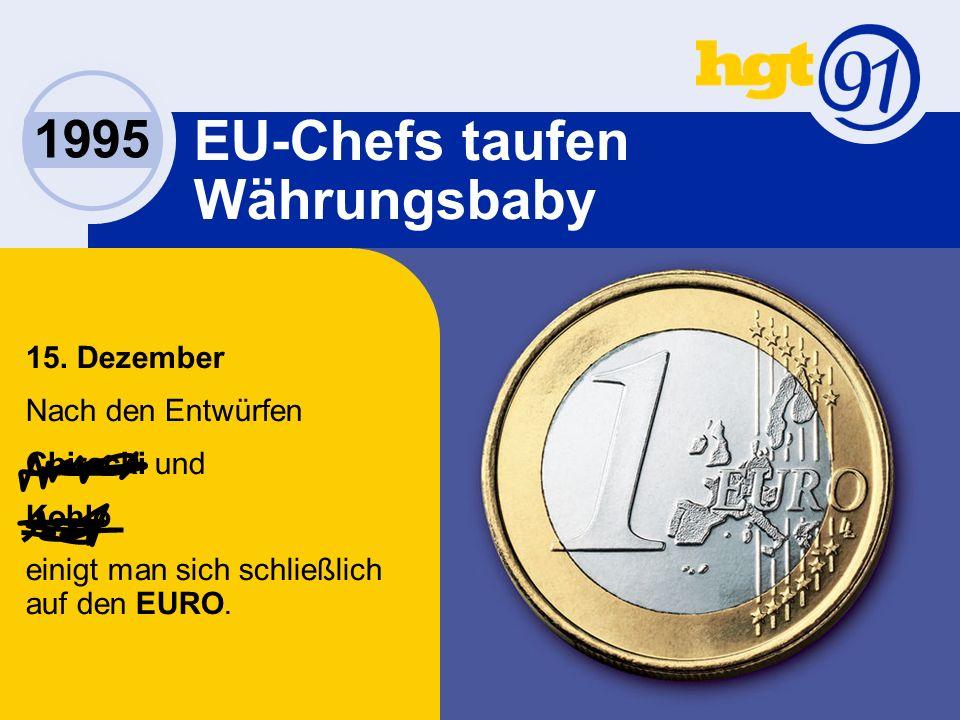 1995 EU-Chefs taufen Währungsbaby 15.