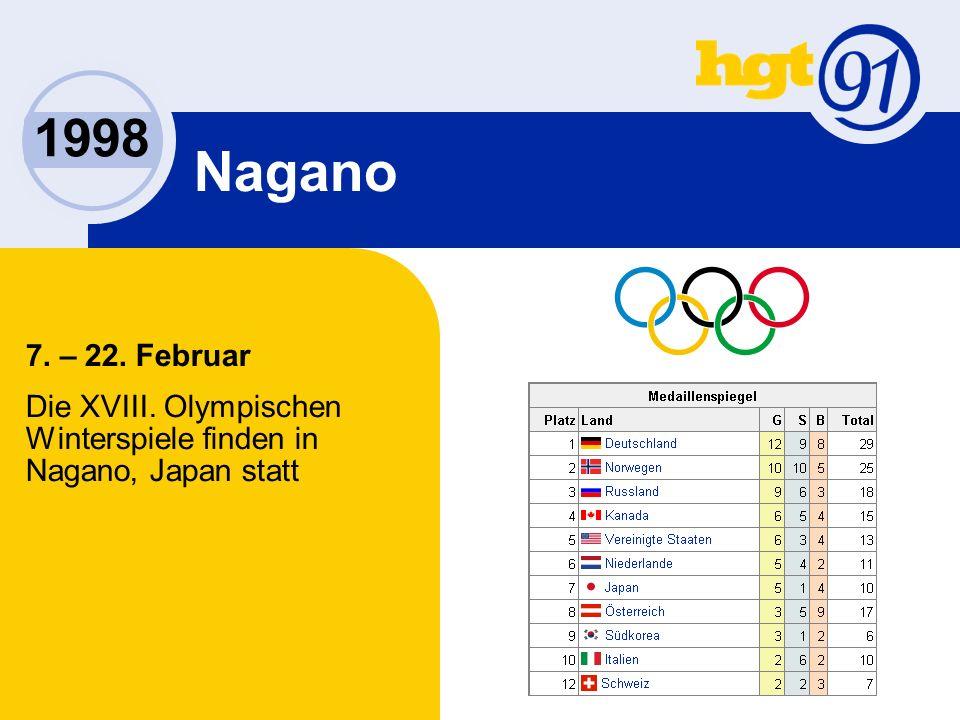 1998 Nagano 7. – 22. Februar Die XVIII. Olympischen Winterspiele finden in Nagano, Japan statt