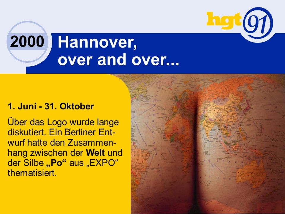 2000 Hannover, over and over... 1. Juni - 31. Oktober Über das Logo wurde lange diskutiert.