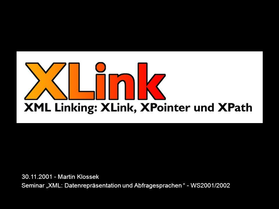 30.11.2001XLink - Martin Klossek22 XPath - Idee XPath ist eine Sprache zur Adressierung von Teilresourcen von XML-konformen Daten kein XML-Dialekt, um in XML- Attributen und URIs genutzt zu werden sehr mächtig, um flexible Anwendungen zu ermöglichen wird von XSLT + XPointer verwendet