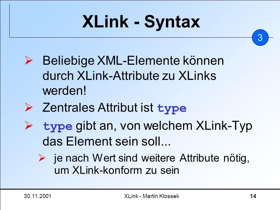 30.11.2001XLink - Martin Klossek14 XLink - Syntax Beliebige XML-Elemente können durch XLink-Attribute zu XLinks werden! Zentrales Attribut ist type ty