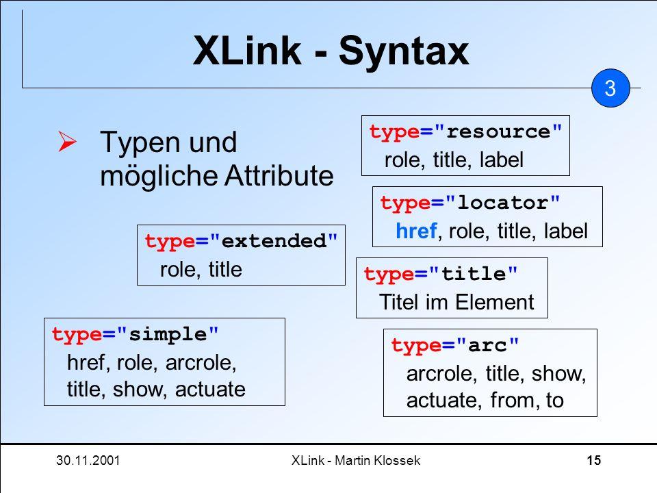 30.11.2001XLink - Martin Klossek15 XLink - Syntax Typen und mögliche Attribute 3 type=