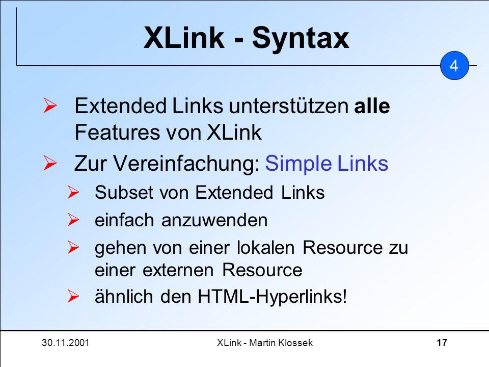 30.11.2001XLink - Martin Klossek17 XLink - Syntax Extended Links unterstützen alle Features von XLink Zur Vereinfachung: Simple Links Subset von Exten