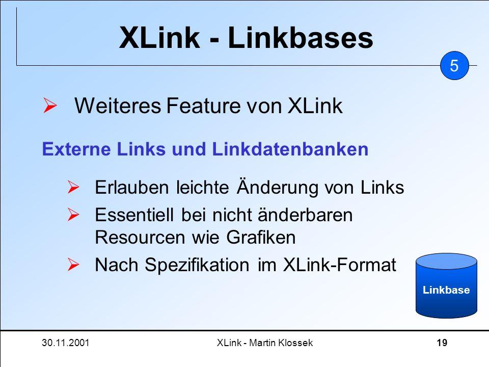 30.11.2001XLink - Martin Klossek19 XLink - Linkbases Weiteres Feature von XLink Erlauben leichte Änderung von Links Essentiell bei nicht änderbaren Re