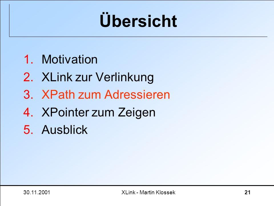 30.11.2001XLink - Martin Klossek21 Übersicht 1.Motivation 2.XLink zur Verlinkung 3.XPath zum Adressieren 4.XPointer zum Zeigen 5.Ausblick