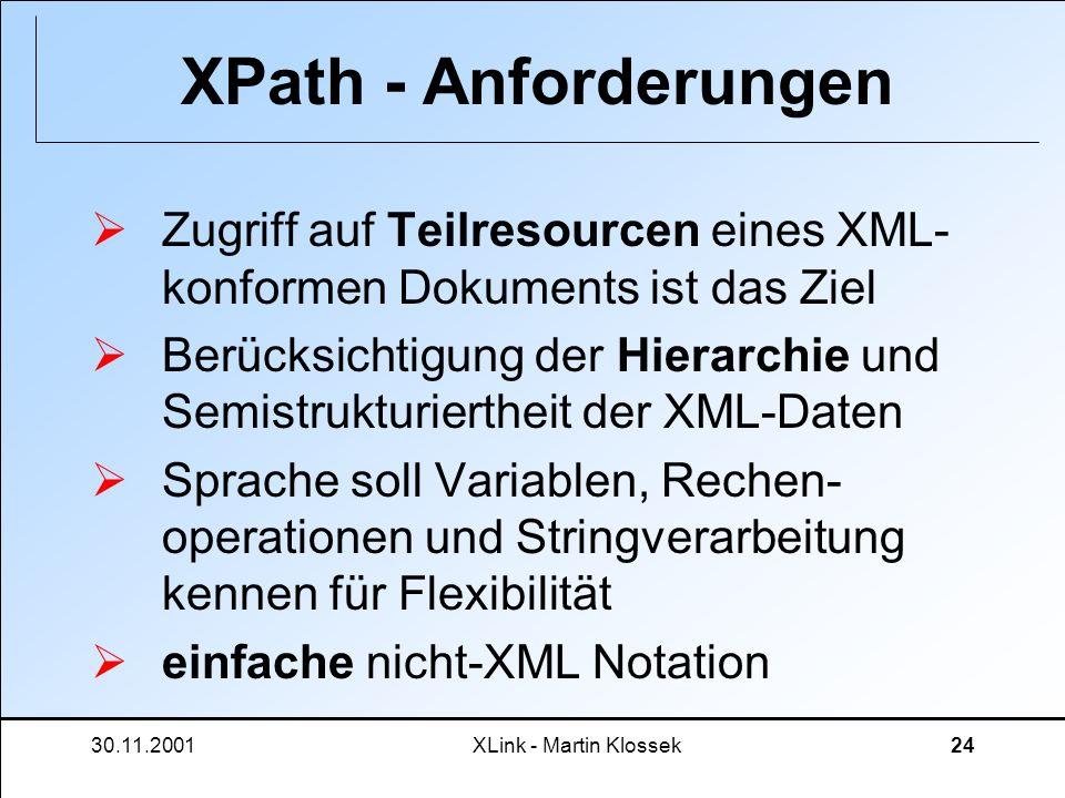 30.11.2001XLink - Martin Klossek24 XPath - Anforderungen Zugriff auf Teilresourcen eines XML- konformen Dokuments ist das Ziel Berücksichtigung der Hi
