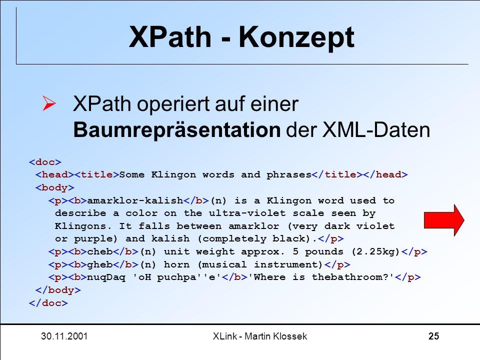 30.11.2001XLink - Martin Klossek25 XPath - Konzept XPath operiert auf einer Baumrepräsentation der XML-Daten Some Klingon words and phrases amarklor-k