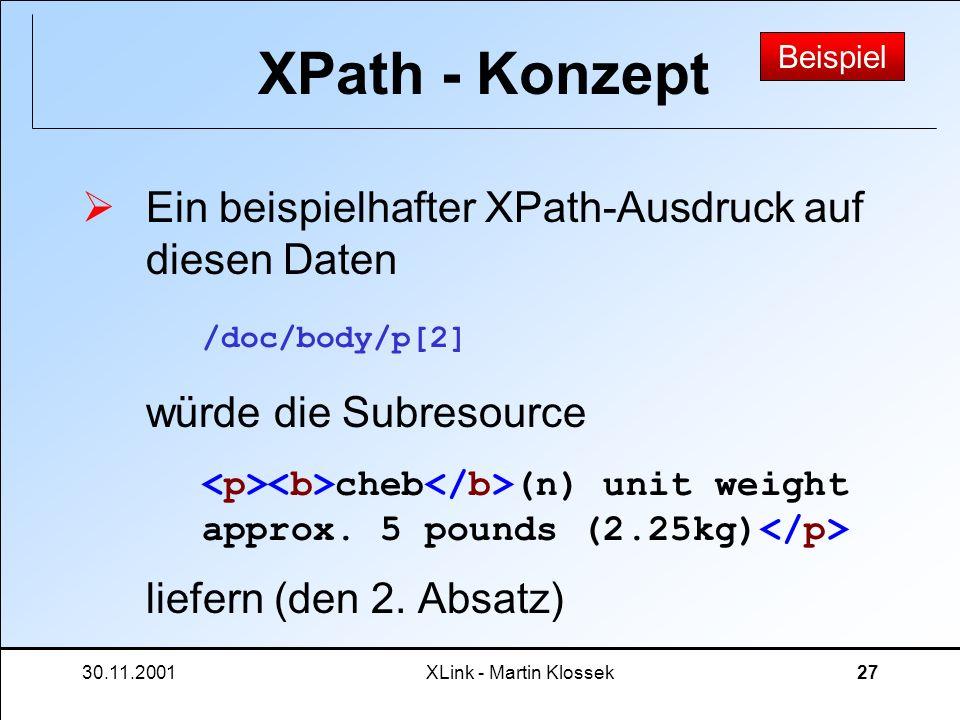30.11.2001XLink - Martin Klossek27 XPath - Konzept Ein beispielhafter XPath-Ausdruck auf diesen Daten würde die Subresource liefern (den 2. Absatz) /d
