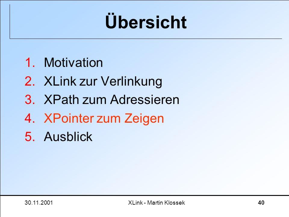 30.11.2001XLink - Martin Klossek40 Übersicht 1.Motivation 2.XLink zur Verlinkung 3.XPath zum Adressieren 4.XPointer zum Zeigen 5.Ausblick