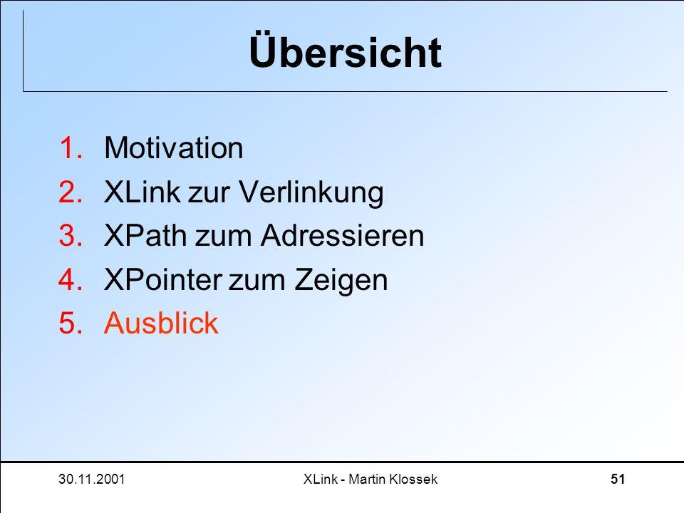 30.11.2001XLink - Martin Klossek51 Übersicht 1.Motivation 2.XLink zur Verlinkung 3.XPath zum Adressieren 4.XPointer zum Zeigen 5.Ausblick