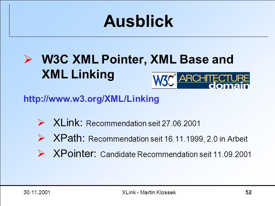 30.11.2001XLink - Martin Klossek52 Ausblick W3C XML Pointer, XML Base and XML Linking XLink: Recommendation seit 27.06.2001 XPath: Recommendation seit