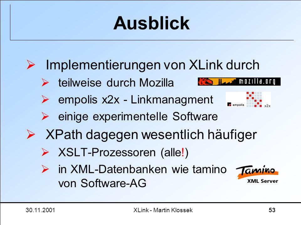 30.11.2001XLink - Martin Klossek53 Ausblick Implementierungen von XLink durch teilweise durch Mozilla empolis x2x - Linkmanagment einige experimentell