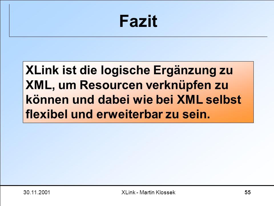 30.11.2001XLink - Martin Klossek55 Fazit XLink ist die logische Ergänzung zu XML, um Resourcen verknüpfen zu können und dabei wie bei XML selbst flexi