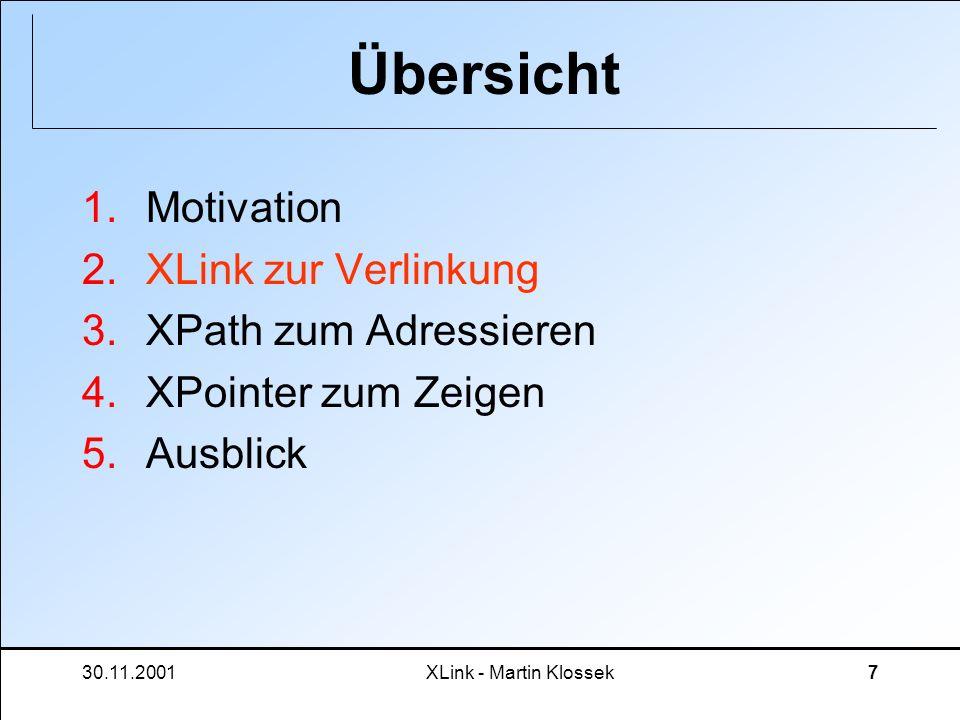 30.11.2001XLink - Martin Klossek7 Übersicht 1.Motivation 2.XLink zur Verlinkung 3.XPath zum Adressieren 4.XPointer zum Zeigen 5.Ausblick