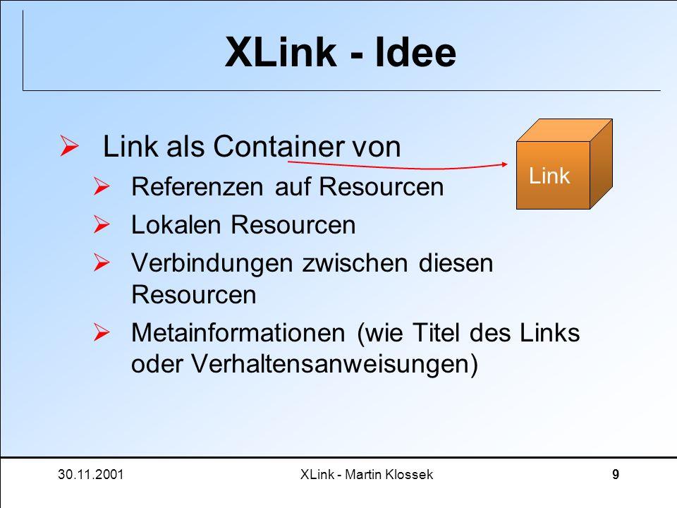 30.11.2001XLink - Martin Klossek10 XLink - Idee Damit bietet ein XLink-Link: uni- und bidirektionale Verknüpfungs- strukturen mehr als 2 Resourcen pro Link möglich Metadaten können angegeben werden Trennung von Resource und Link durch externes Speichern von Links achja, und für XML-Resourcen geht es auch mit Subresourcen Link