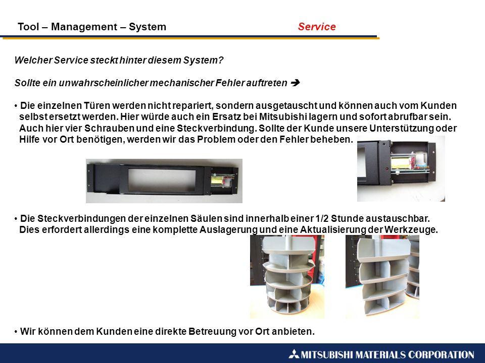 Tool – Management – System Service Welcher Service steckt hinter diesem System? Sollte ein unwahrscheinlicher mechanischer Fehler auftreten Die einzel