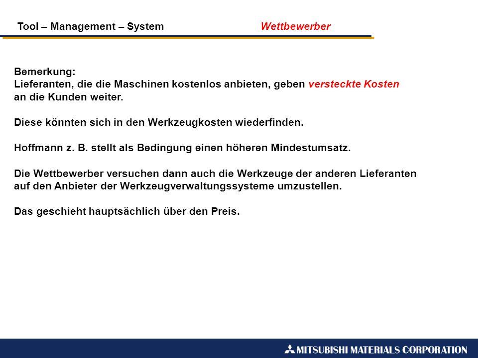 Tool – Management – System Wettbewerber Bemerkung: Lieferanten, die die Maschinen kostenlos anbieten, geben versteckte Kosten an die Kunden weiter. Di