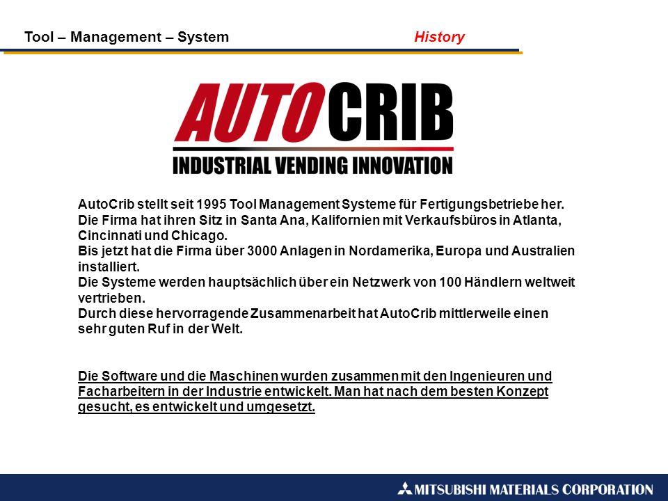 Tool – Management – System History AutoCrib stellt seit 1995 Tool Management Systeme für Fertigungsbetriebe her. Die Firma hat ihren Sitz in Santa Ana