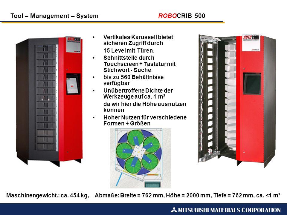 Tool – Management – System ROBOCRIB 500 Maschinengewicht.: ca. 454 kg, Abmaße: Breite = 762 mm, Höhe = 2000 mm, Tiefe = 762 mm, ca. <1 m² Vertikales K