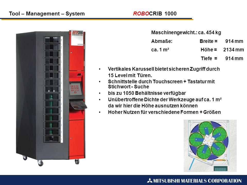 Tool – Management – System ROBOCRIB 1000 Maschinengewicht.: ca. 454 kg Abmaße: Breite =914 mm ca. 1 m²Höhe = 2134 mm Tiefe =914 mm Vertikales Karussel