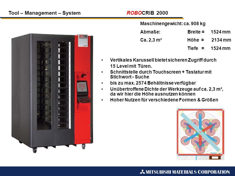 Tool – Management – System ROBOCRIB 2000 Maschinengewicht: ca. 908 kg Abmaße: Breite =1524 mm Ca. 2,3 m²Höhe = 2134 mm Tiefe =1524 mm Vertikales Karus