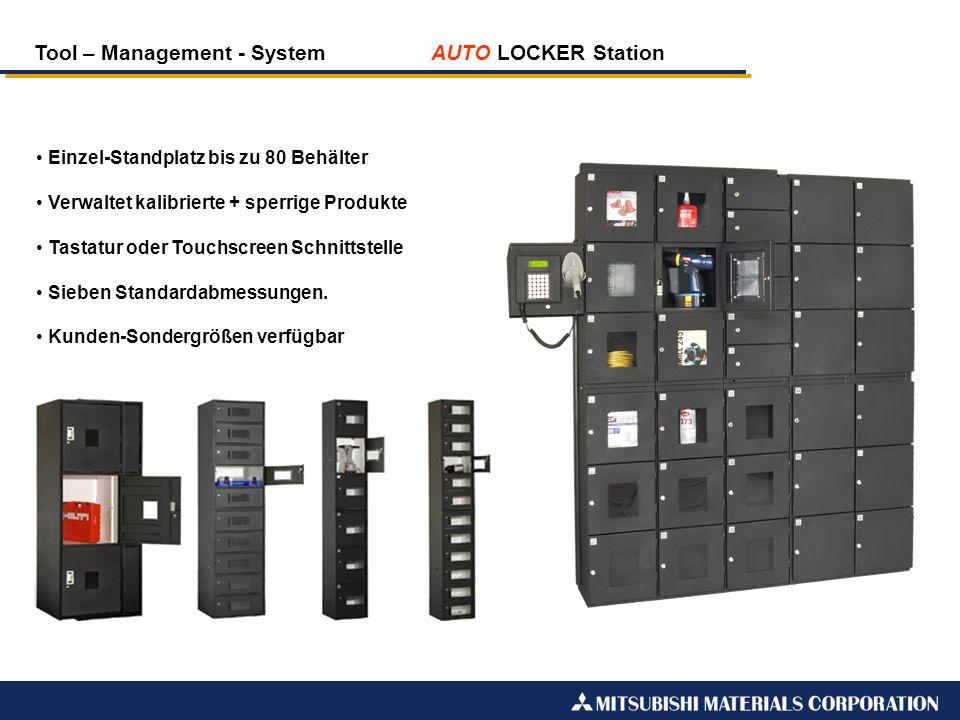 Tool – Management - System AUTO LOCKER Station Einzel-Standplatz bis zu 80 Behälter Verwaltet kalibrierte + sperrige Produkte Tastatur oder Touchscree