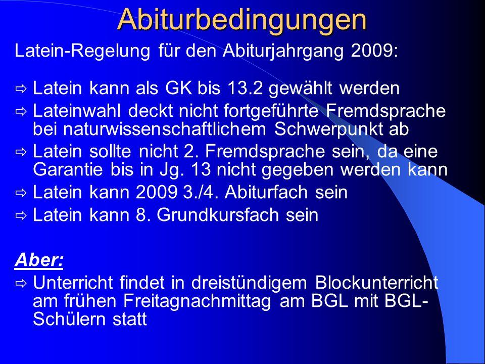 Abiturbedingungen Zu Beginn der 13/1 werden das 3. und 4. Abiturfach aus den GK bestimmt. Das 3. und 4. Abiturfach müssen ab 12/1 schriftlich belegt s