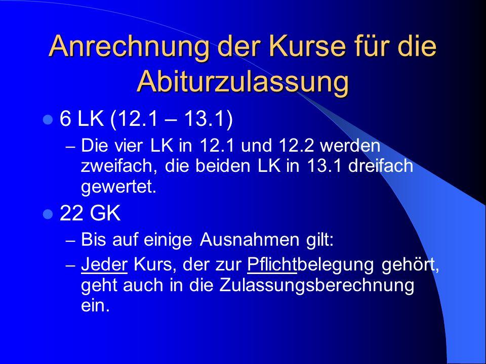 Abitur/Berechnung der Abiturnote ZULASSUNG ABITURBEREICH Punkte aus den 4 Abiturfächern in 13.2 Punkte aus 22 Grundkursen (12.1 – 13.2) Punkte aus den
