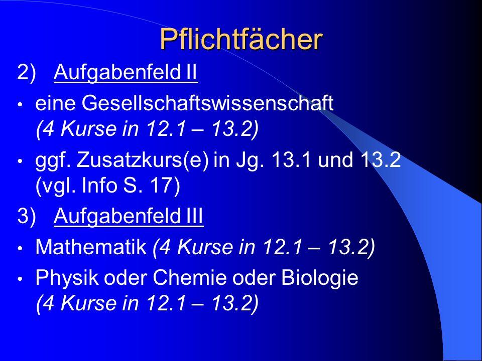 Pflichtfächer 2) Aufgabenfeld II eine Gesellschaftswissenschaft (4 Kurse in 12.1 – 13.2) ggf.
