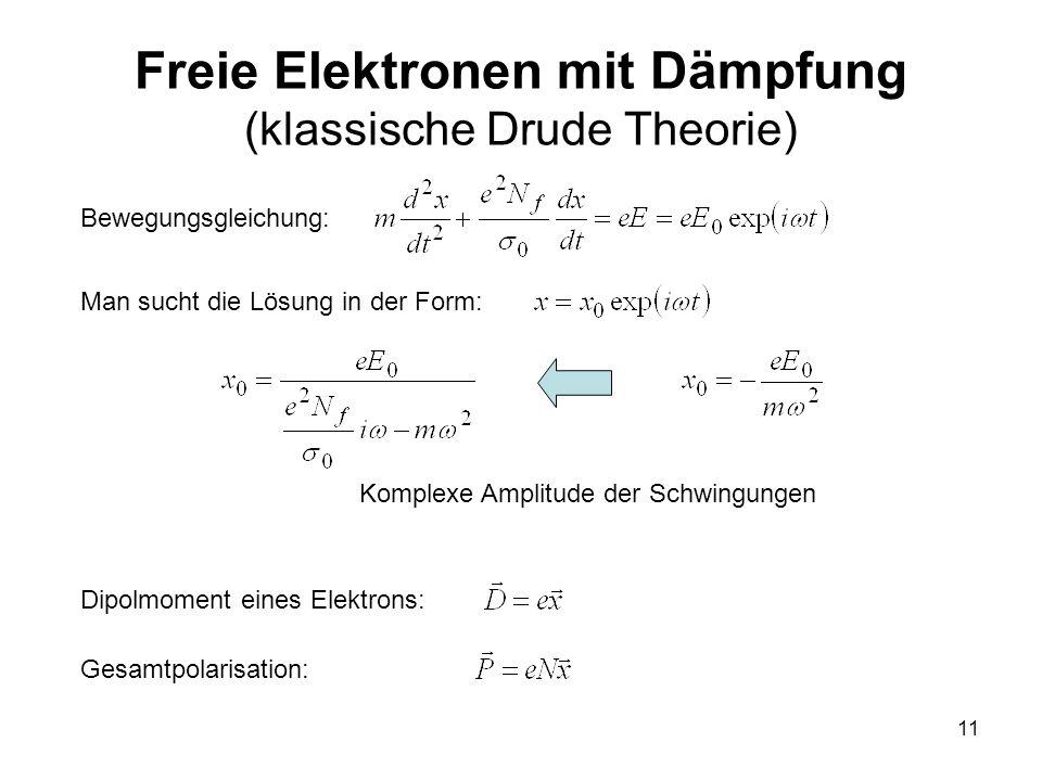 11 Freie Elektronen mit Dämpfung (klassische Drude Theorie) Man sucht die Lösung in der Form: Dipolmoment eines Elektrons: Gesamtpolarisation: Bewegun