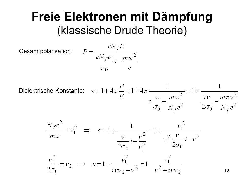 12 Freie Elektronen mit Dämpfung (klassische Drude Theorie) Gesamtpolarisation: Dielektrische Konstante: