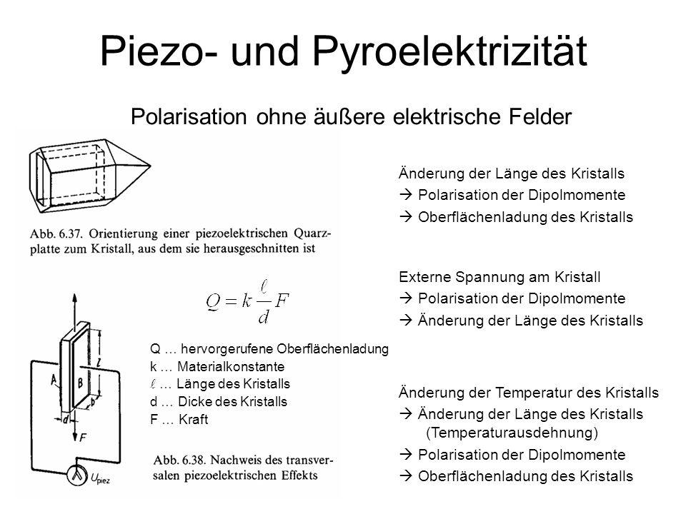 38 Piezo- und Pyroelektrizität Polarisation ohne äußere elektrische Felder Änderung der Länge des Kristalls Polarisation der Dipolmomente Oberflächenl