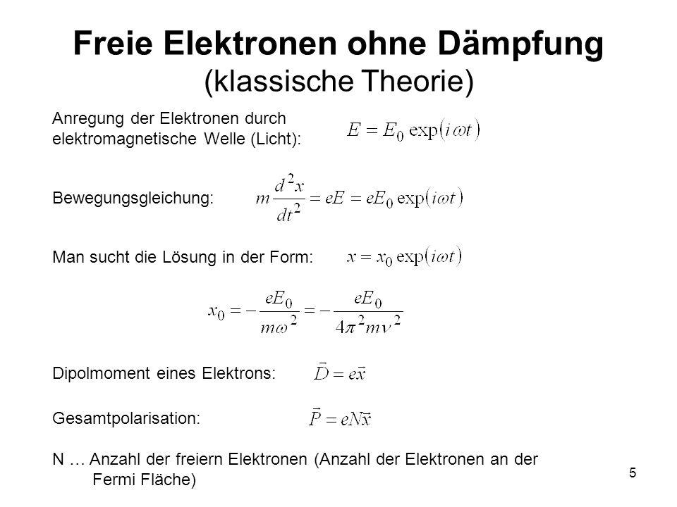 5 Freie Elektronen ohne Dämpfung (klassische Theorie) Anregung der Elektronen durch elektromagnetische Welle (Licht): Bewegungsgleichung: Man sucht di