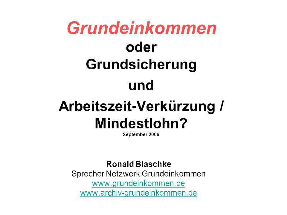 Grundeinkommen oder Grundsicherung und Arbeitszeit-Verkürzung / Mindestlohn? September 2006 Ronald Blaschke Sprecher Netzwerk Grundeinkommen www.grund