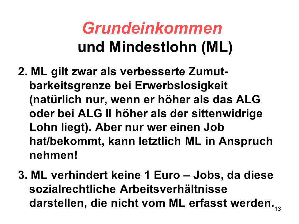 13 Grundeinkommen und Mindestlohn (ML) 2. ML gilt zwar als verbesserte Zumut- barkeitsgrenze bei Erwerbslosigkeit (natürlich nur, wenn er höher als da