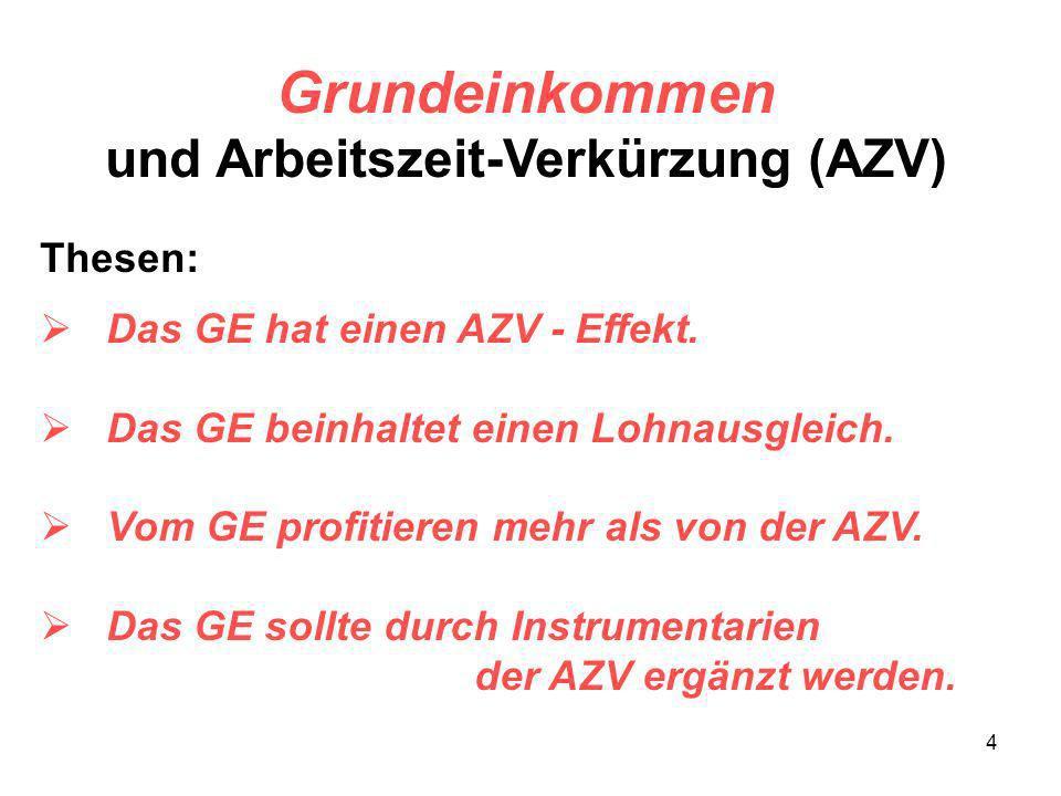 4 Grundeinkommen und Arbeitszeit-Verkürzung (AZV) Thesen: Das GE hat einen AZV - Effekt. Das GE beinhaltet einen Lohnausgleich. Vom GE profitieren meh