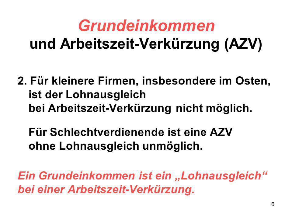 7 Grundeinkommen und Arbeitszeit-Verkürzung (AZV) 3.