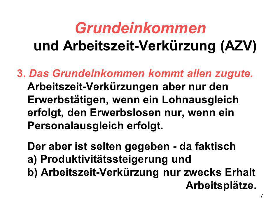 7 Grundeinkommen und Arbeitszeit-Verkürzung (AZV) 3. Das Grundeinkommen kommt allen zugute. Arbeitszeit-Verkürzungen aber nur den Erwerbstätigen, wenn