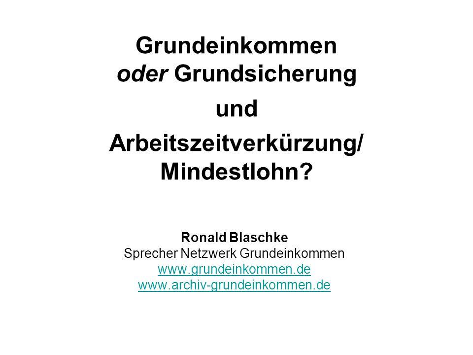 Grundeinkommen oder Grundsicherung und Arbeitszeitverkürzung/ Mindestlohn? Ronald Blaschke Sprecher Netzwerk Grundeinkommen www.grundeinkommen.de www.