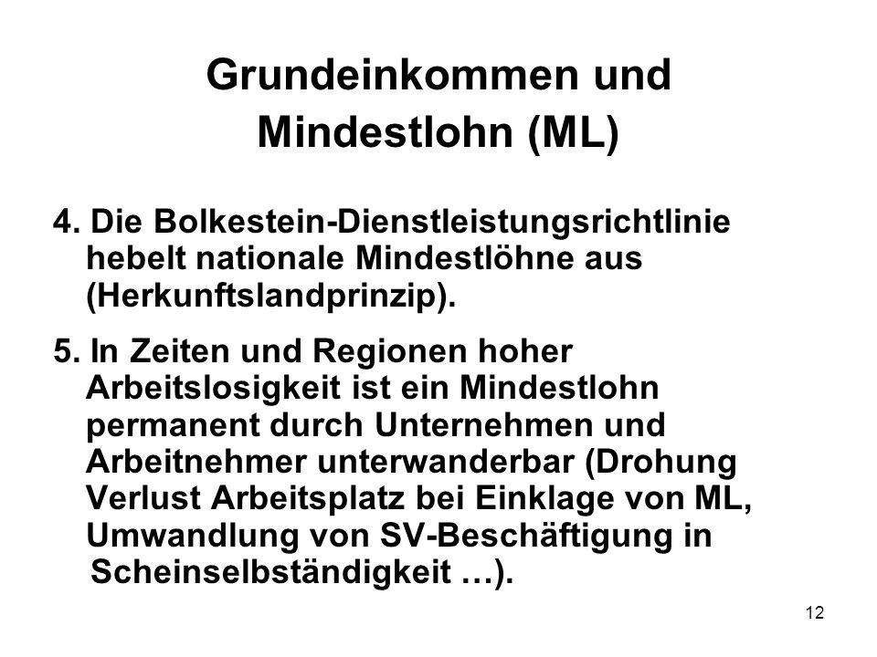 12 Grundeinkommen und Mindestlohn (ML) 4. Die Bolkestein-Dienstleistungsrichtlinie hebelt nationale Mindestlöhne aus (Herkunftslandprinzip). 5. In Zei