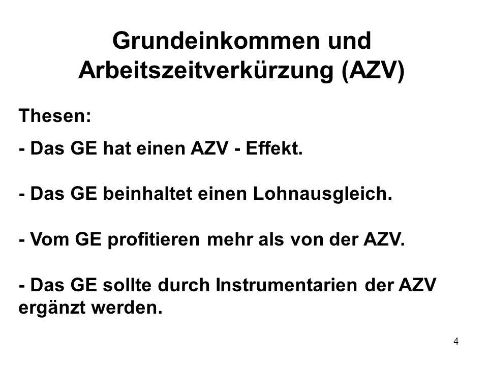 4 Grundeinkommen und Arbeitszeitverkürzung (AZV) Thesen: - Das GE hat einen AZV - Effekt. - Das GE beinhaltet einen Lohnausgleich. - Vom GE profitiere
